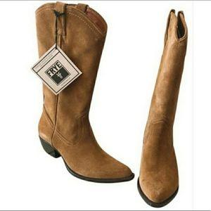 Frye Tan Sacha Suede Cowboy Boots B9
